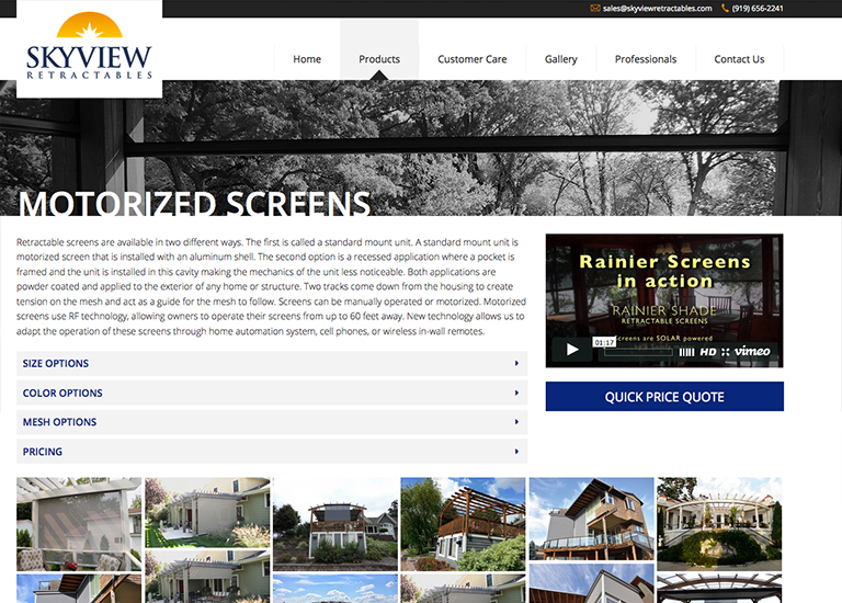 Skyview Retractables | Web Design and SEO Vancouver