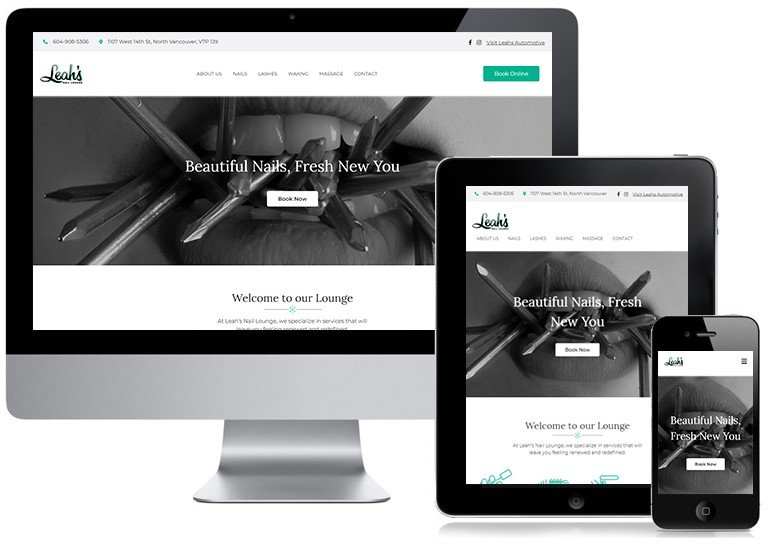 Leahs Nail Lounge Responsive Website